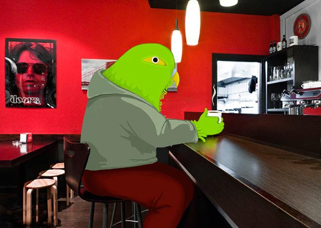 Personaje fotoilustración en un bar