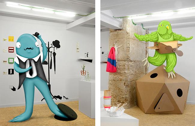 Personajes ilustrados integrados en fotos de una tienda