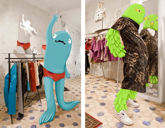 Personajes fotoilustración probando ropa