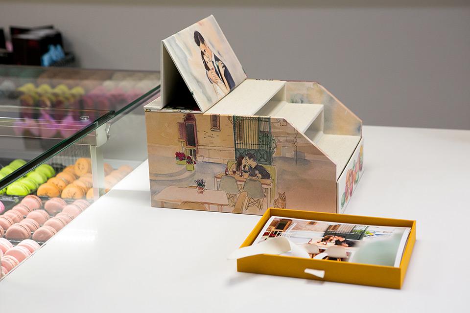 caja con fotos de la boda