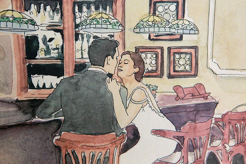 detalle de ilustración de los novios