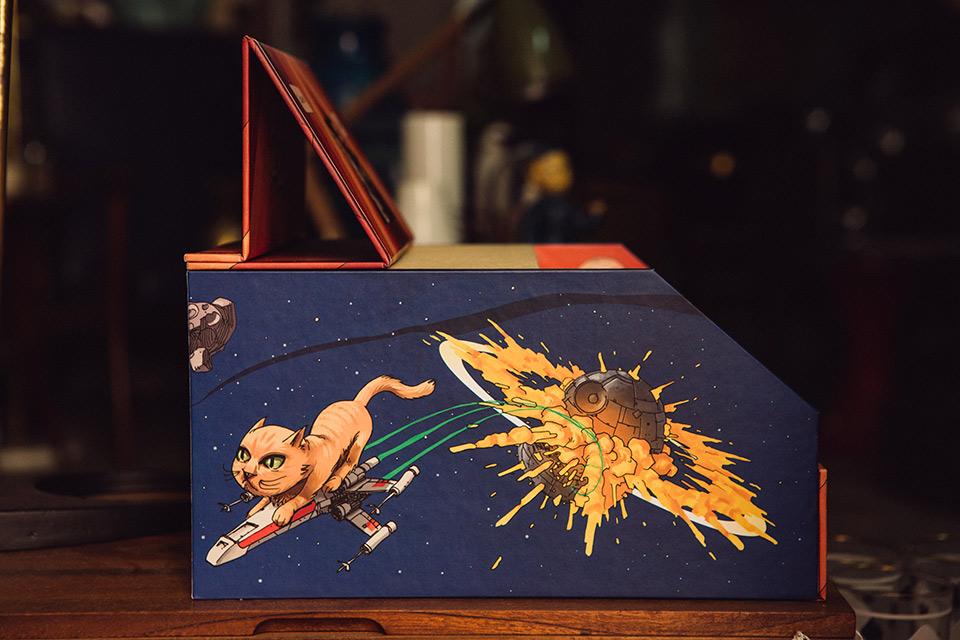 ilustración en caja de fotos fandi estrella de la muerte y gato