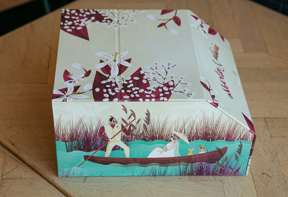 flores-y-barca-en-las-ilustraciones-de-caja-para-fotos-de-la-boda