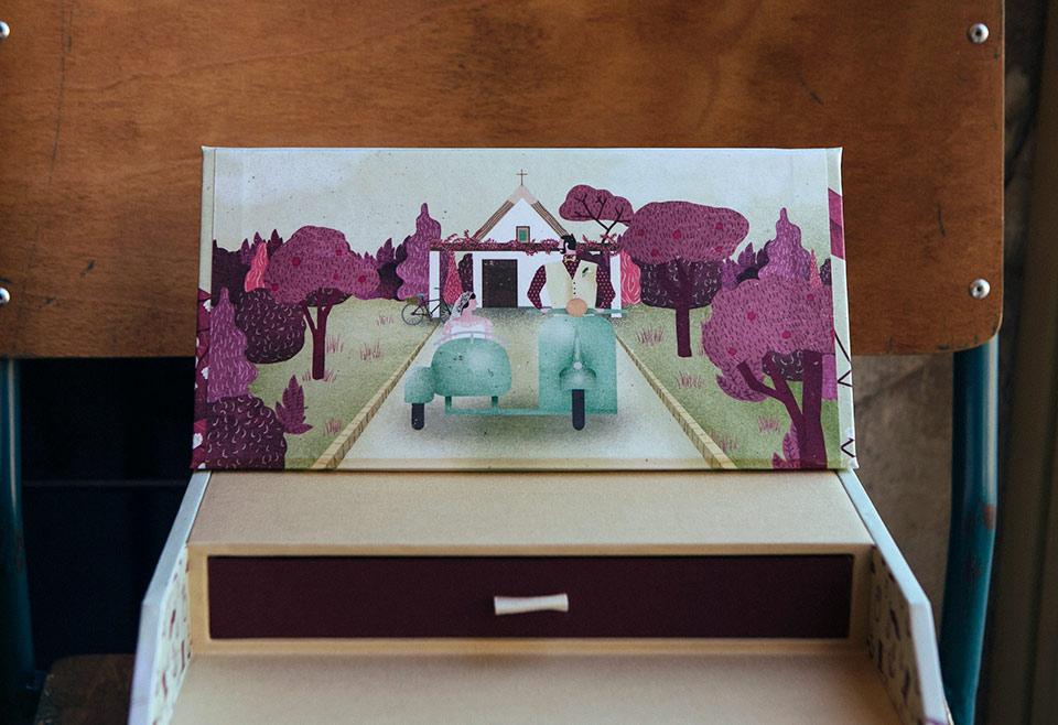 ilustración-de-boda-los-novios-en-el-sidecar-para-caja-de-fotos-fandi