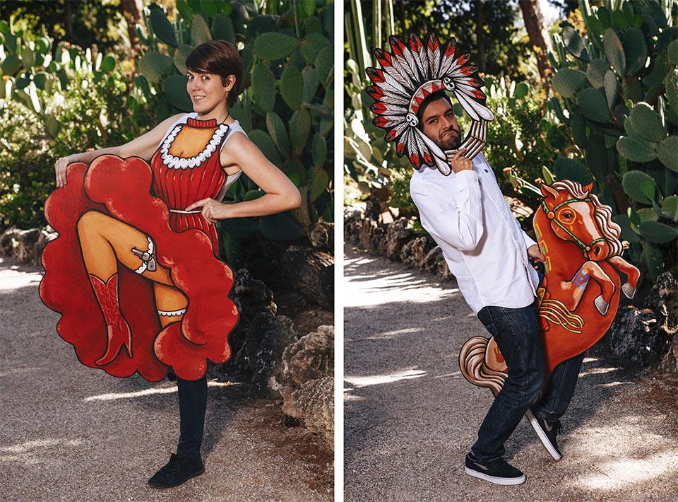 vestido de bailarina o indio con caballo en el photocall