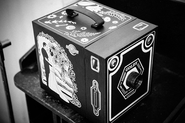 caja de fotos de boda inspirada en camara antigua Goldy-fandi.es
