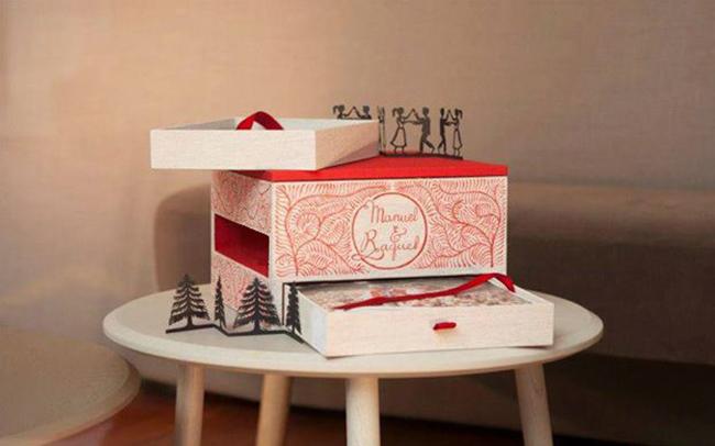 caja de fotos de boda inspirada en estilo artistico de suiza