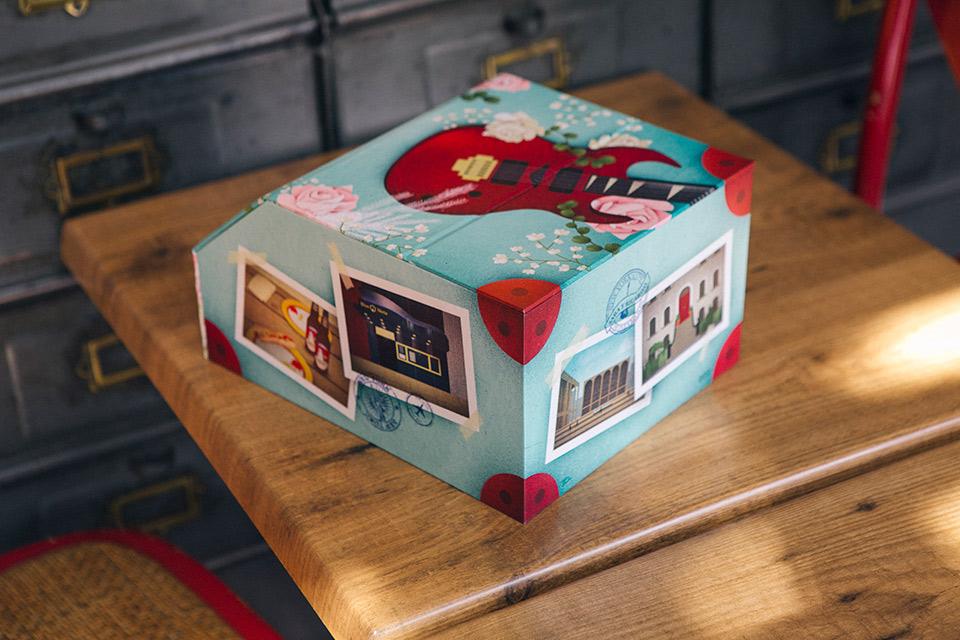 caja de fotos de boda con unaguitarra electrica y maleta