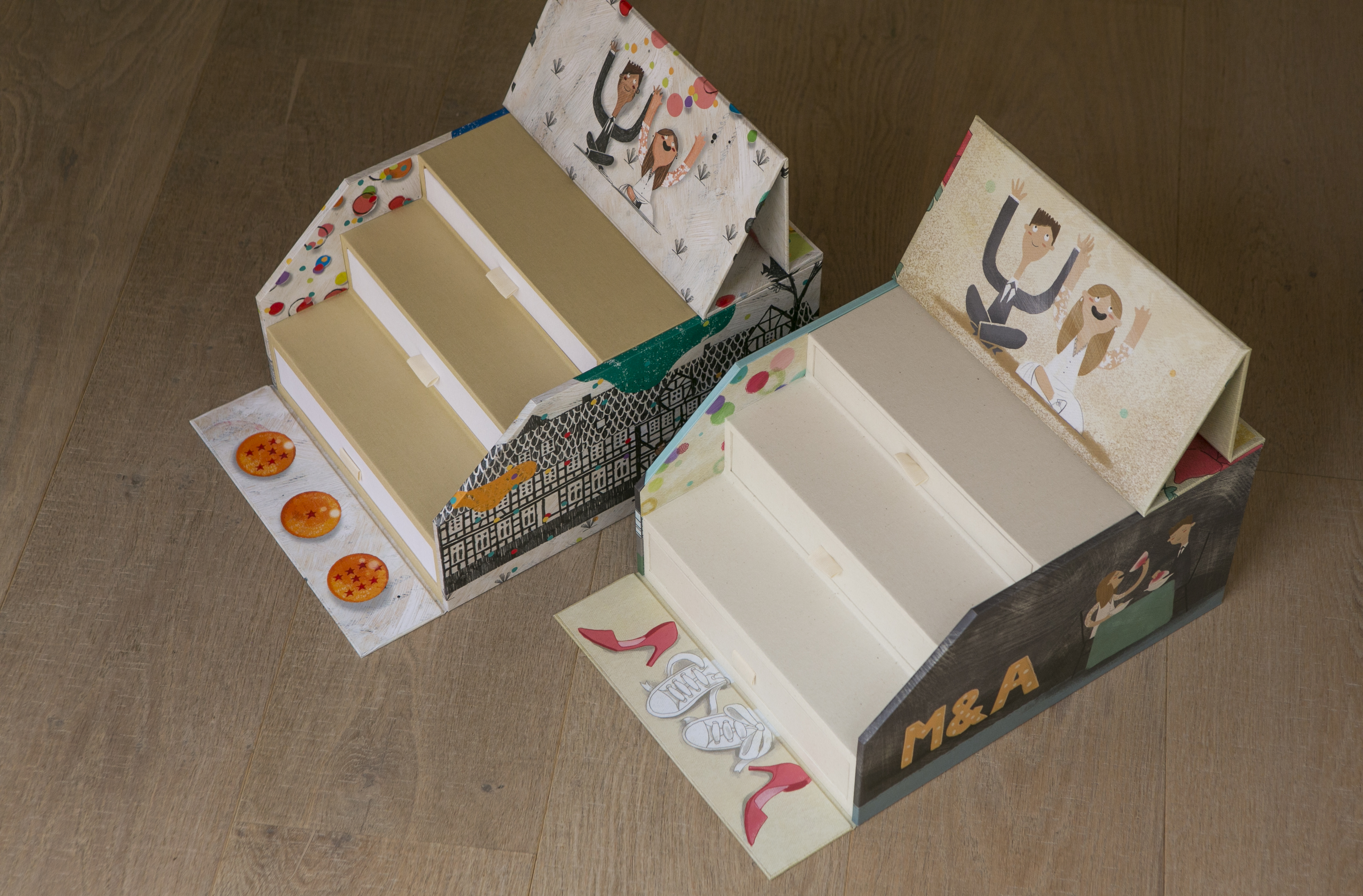 Dos cajas ilustradas para una única boda